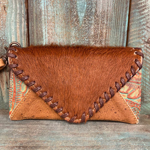 Dark Reddish Brown & Tooled Turquoise Phone Wallet