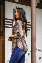 Load image into Gallery viewer, Brown Snake Print 3/4 Sleeve Tunic