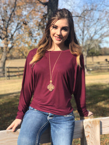 Maroon Long-Sleeve Off Shoulder T-Shirt
