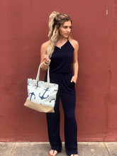 Load image into Gallery viewer, Navy Halter Wide Leg Romper Jumpsuit