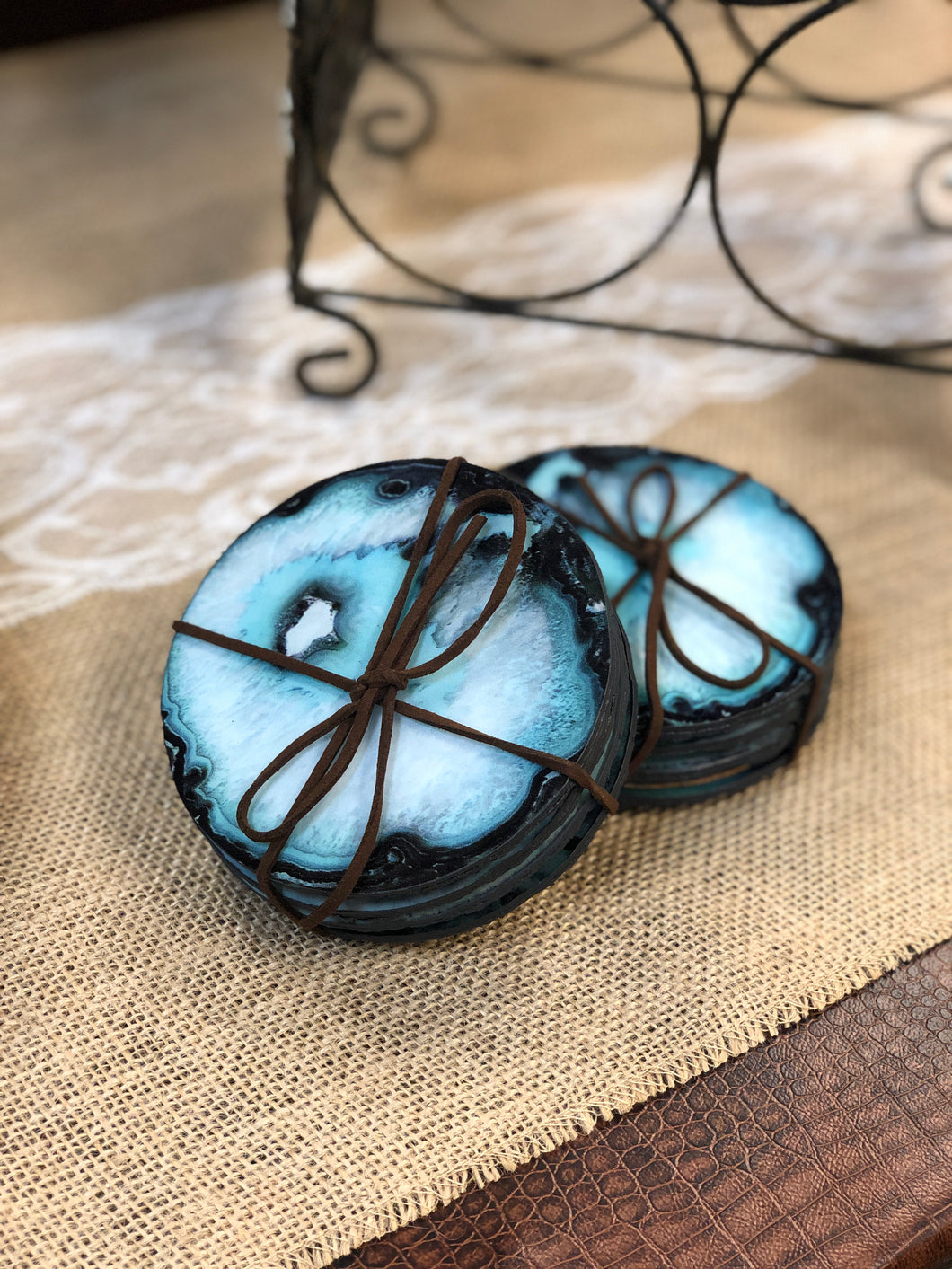 Turquoise Faux Agate 4 Piece Coaster Set