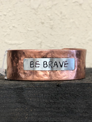 Be Brave Copper Hammered Cuff Bracelet