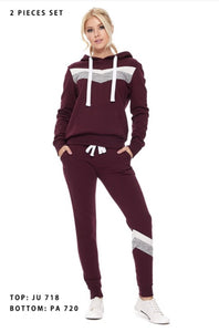 Maroon Chevron Hoodie with Joggers - 2PC SET
