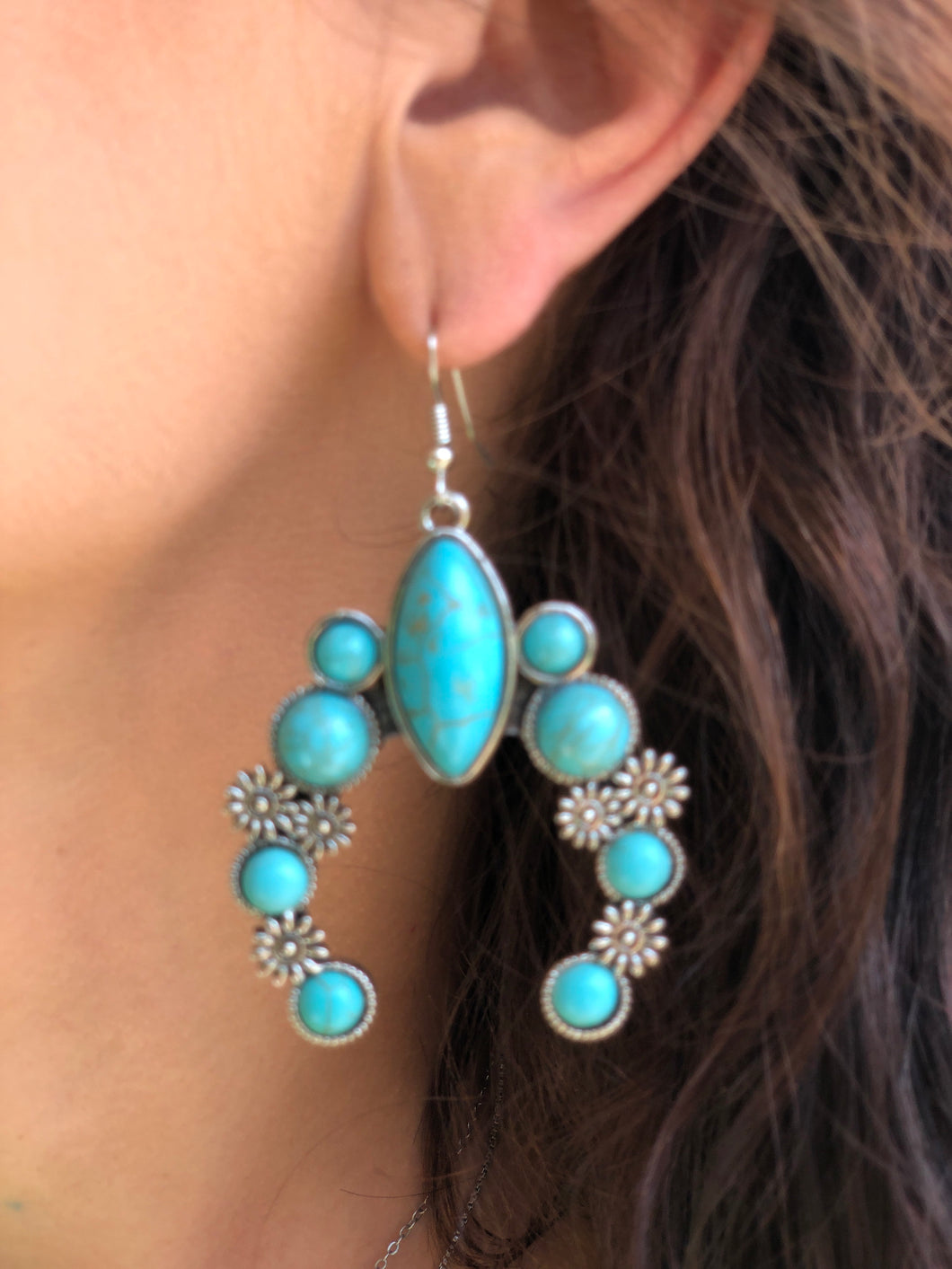 Silver Turquoise Squash Dangle Earrings