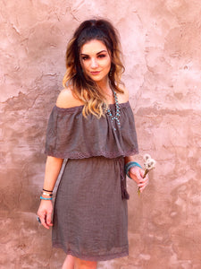 Olive Off Shoulder Tassel Dress