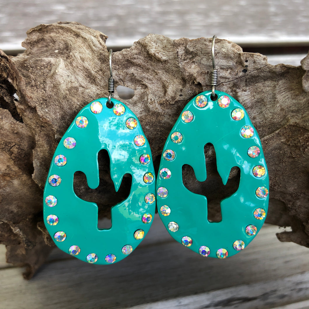 Turquoise Hammered Cactus AB Earrings