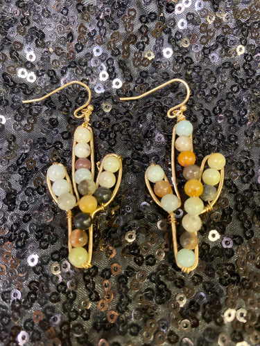 Gold Beaded Cactus Earrings