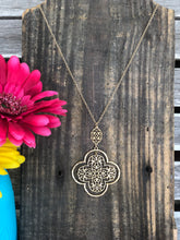 Load image into Gallery viewer, Gold KS Inspired Clover Dangle Necklace