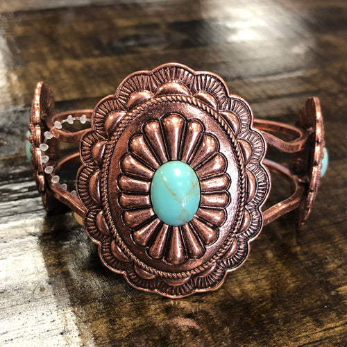 Copper Concho Bracelet with Turquoise Stone