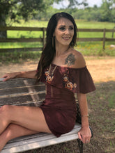 Load image into Gallery viewer, Burgundy Embroidered Off Shoulder Mini Dress