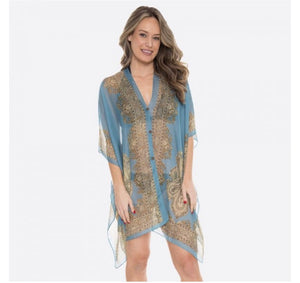 Teal Sheer Paisley Button Kimono/Coverup - ONE SIZE
