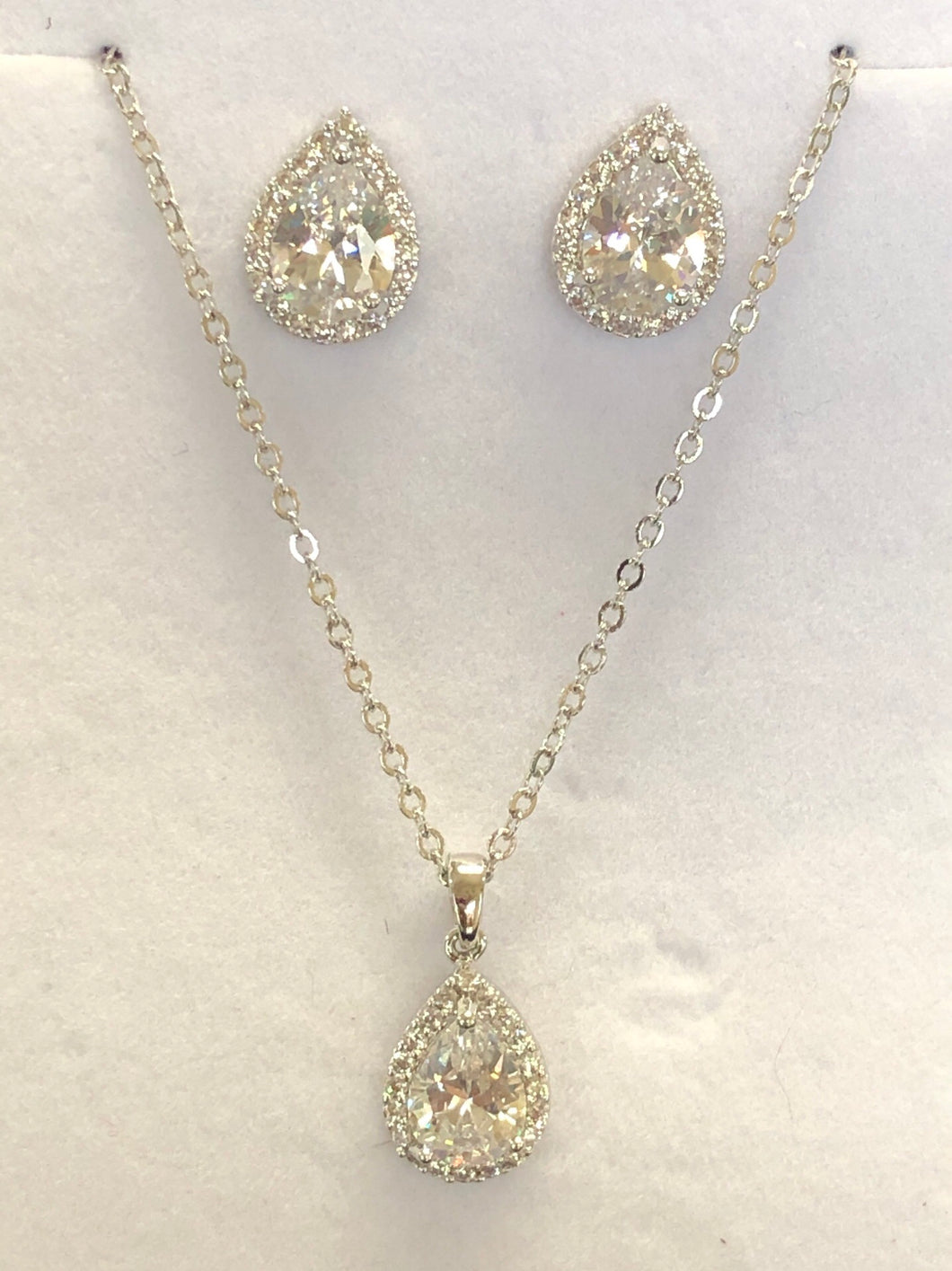Silver Pair Shaped Cubic Zirconia Necklace Set