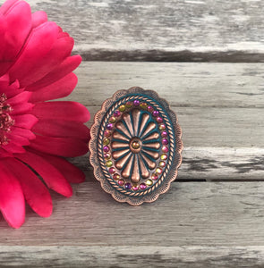 Patina Oval Multi Color Rhinestone POP Socket