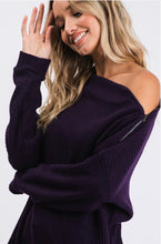 Load image into Gallery viewer, Purple Waffle Crew Neck Long Sleeve Side Zipper Top