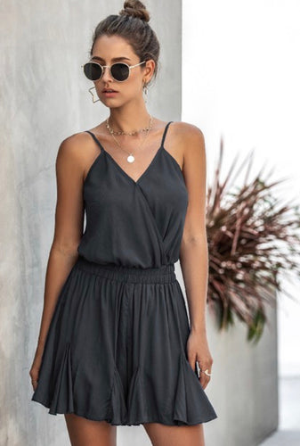 Black Spaghetti Strap V-Neck Romper Dress