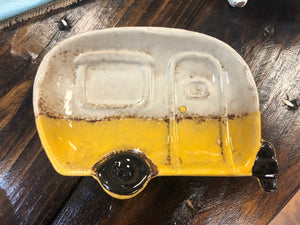 Vintage Yellow Camper Soap Dish