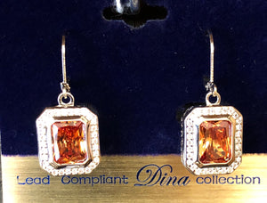 Topaz Emerald Cut Dangle Earrings
