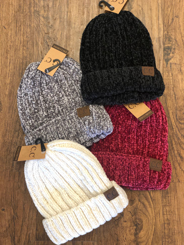 C.C. Chunky Ribbed Chenille Beanie Hat