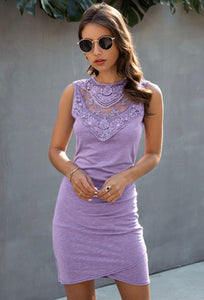 Lavender Lace Front Cocktail Dress