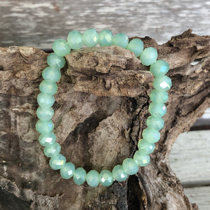 Light Mint Crystal Beaded Stretch Bracelet