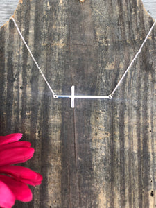 Silver Side Cross Necklace