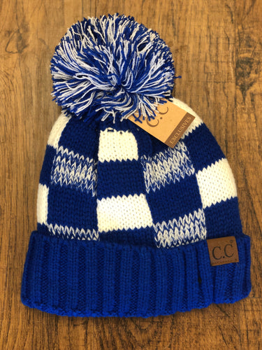 C.C. Royal Blue Checkered Fuzzy Lined Knit Beanie with Pom