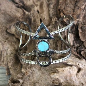 Silver Egyptian Inspired Cuff Bracelet with Turquoise Center Stone