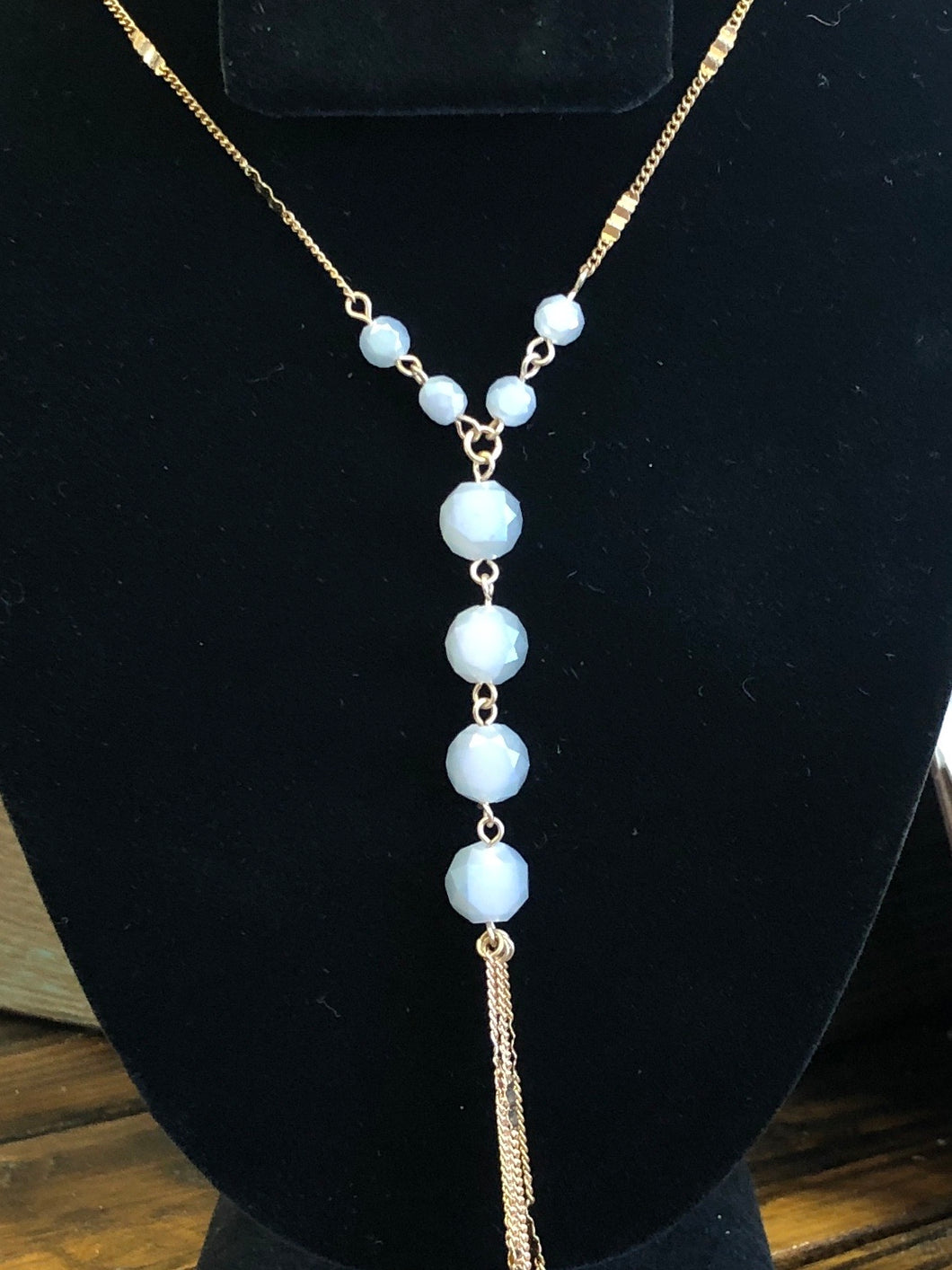 Long Gold Beaded Chain Tassel Necklace