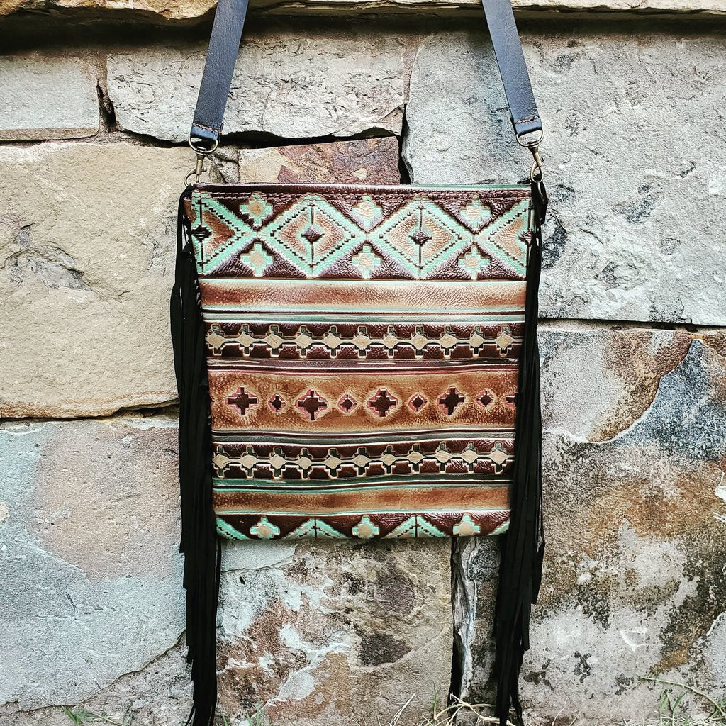 Embossed Navajo Print Leather Crossbody Handbag