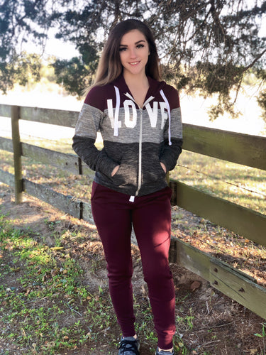 Maroon 3 Block Love Zip Up Hooded Jacket with Joggers - 2PC SET