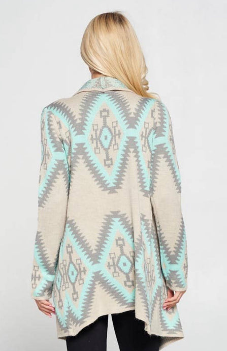 Mint Tribal Sweater Cardigan