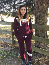 Load image into Gallery viewer, Maroon Chevron Hoodie with Joggers - 2PC SET
