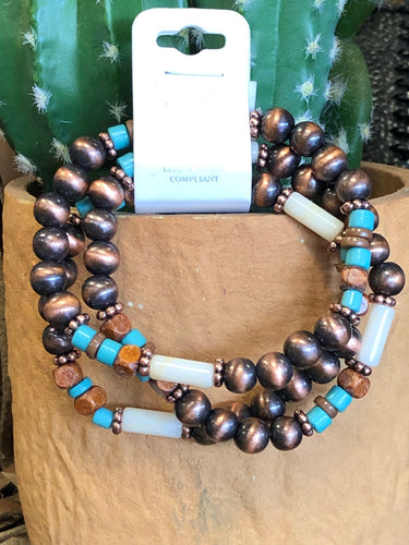 Turquoise/Ivory Copper Navajo Pearl 3 Strand Beaded Bracelet