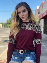 Load image into Gallery viewer, Maroon Leopard Stripe Long Sleeve Top