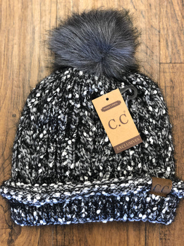 C.C. Black Seed Stitched Confetti Fuzzy Lined Knit Beanie with Pom
