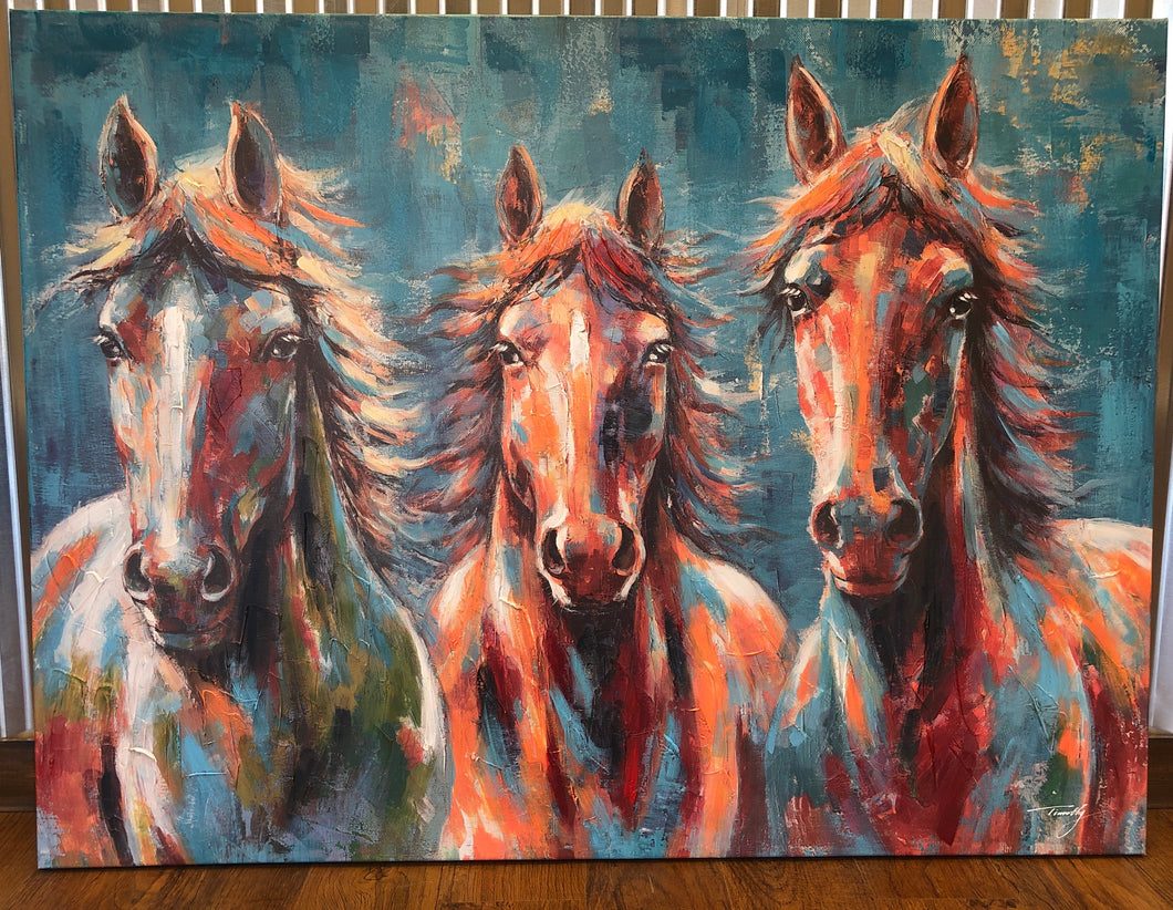 Wild Horses Canvas Painting (38 in x 36 in)