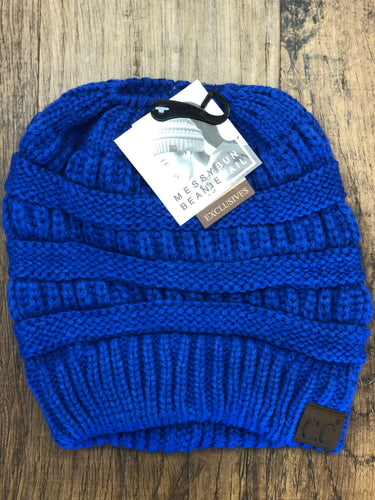 C.C. Royal Blue Messy Bun Knit Beanie