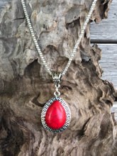 Load image into Gallery viewer, Silver Teardrop Stone Necklace Set