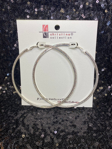 Extra Large Silver AB Rhinestone Hoop Earrings