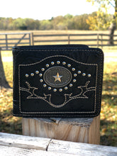 Load image into Gallery viewer, Men's Black Tooled Faux Ostrich Star Wallet
