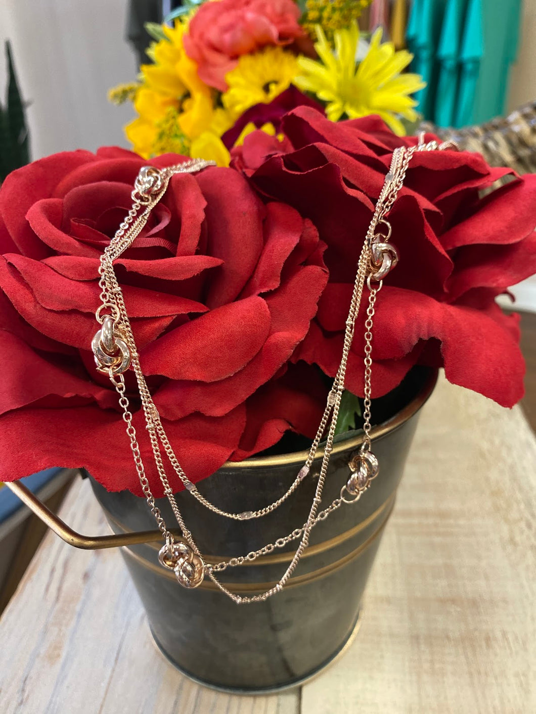 Rose Gold Multi Layer Knot Necklace Set