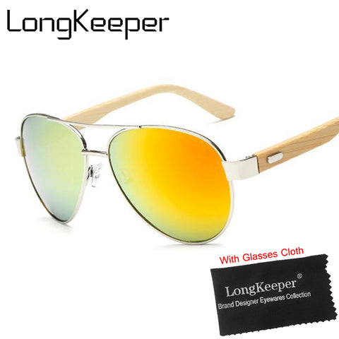 Bamboo Wooden Pilot Sun Glasses - Lifester