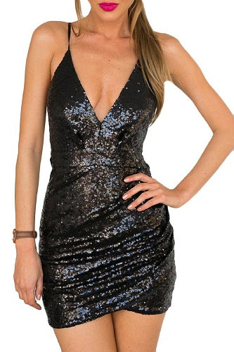 Deep V-Neck Backless Sequin Bodycon Dress - Lifester