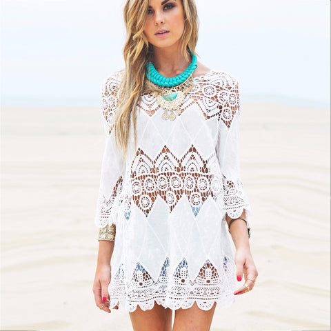 Beach cover and Sexy Halter Dress lace - Lifester