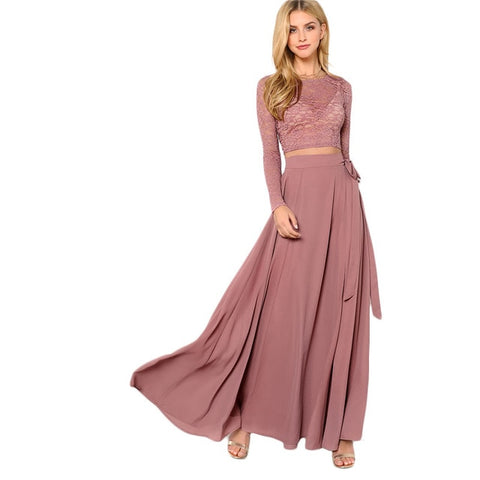Long Sleeve Belt Elegant Two Pieces Sets