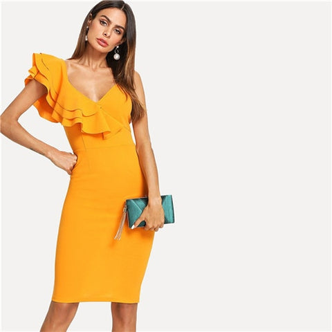 Knee Length Slim Pencil Dress