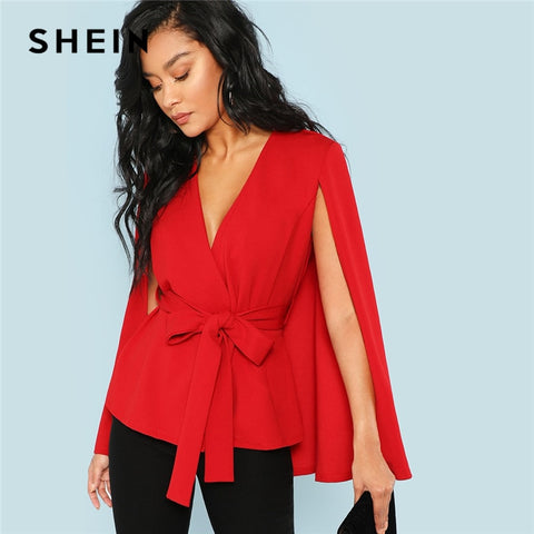 Red Elegant Office Lady Open Placket