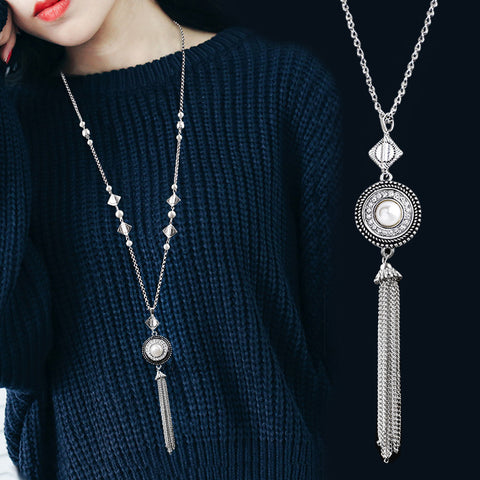 Chain Tassel Necklace Silver Plated Pendant - Lifester
