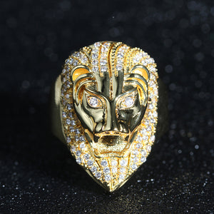 Diamond-Covered Gold Lion Ring