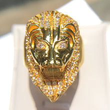 Load image into Gallery viewer, Diamond-Covered Gold Lion Ring